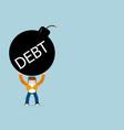human with debt bomb cartoon vector image