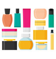 set of cosmetic bottles in flat style vector image