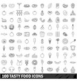 100 tasty food icons set outline style vector image vector image
