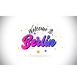 berlin welcome to word text with purple pink vector image