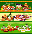 bulgarian meat dishes with vegetable salad cake vector image vector image