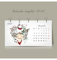 Calendar 2016 december month Season girls design vector image
