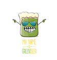 cartoon funky green beer glass character vector image