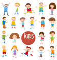 cartoon kid characters big set vector image