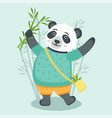 cheerful cute panda with bamboo vector image