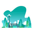 city park with town buildings on a background vector image vector image