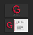 clean dark business card with letter g vector image vector image