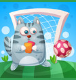 cute cat with rad yellow card play football vector image vector image