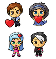 cute chibi icons set with valentine symbol part 3 vector image vector image