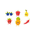 cute fruit and vegetables characters set vector image vector image