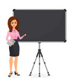 cute young business woman pointing at empty flip vector image vector image