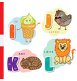 danish alphabet ice cream hazel grouse cat vector image vector image