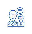 doctors help to the patient line icon concept vector image vector image