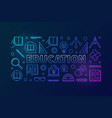 education colorful outline horizontal vector image