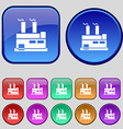 factory icon sign A set of twelve vintage buttons vector image