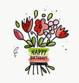 floral birthday card for your design vector image vector image