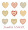 Heart shape cookies with playful flirty romantic vector image vector image