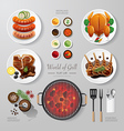 Infographic food grill bbq roast steak flat lay vector image vector image