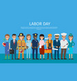 labor day worker isolated on blue cartoon drawing vector image vector image