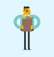 man holding shopping bag with healthy food vector image vector image