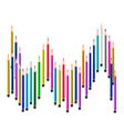 Many Colored Pencils on A White Background vector image vector image