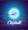 merry christmas with flying santa in vector image vector image