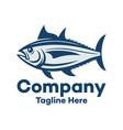 modern marine tuna fish and fishing logo vector image vector image