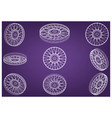 Motorcycle wheels on a purple