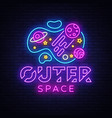 outer space neon sign space design vector image vector image
