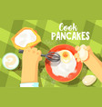 pancakes cooking bright color vector image vector image