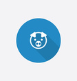 pig Flat Blue Simple Icon with long shadow vector image vector image