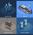 police concept icons set vector image vector image