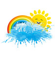 rainbow with sun and splash of water vector image vector image