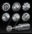 realistic industrial gear set vector image vector image