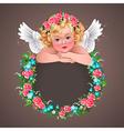 retro angel flowers vector image