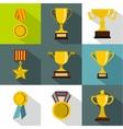 Rewarding icons set flat style vector image vector image
