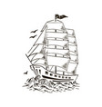 sailboat sketch yacht ship hand drawn vector image