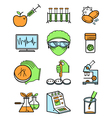 science and genetic laboratory icons set vector image vector image