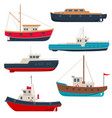 set of different working fishing boats and launch vector image vector image