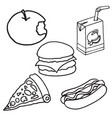 set of food and drink doodle icons vector image