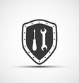 shield icon with wrench and screwdriver vector image vector image