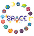 space logo with many planets in circle shape vector image vector image