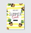 summer sale pineapple lettering badge design label vector image