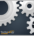 white 3d gears on the gray hexagon background vector image