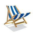 wooden beach blue striped deck chair isolated on vector image