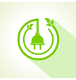 Eco electric plug with leaf vector image