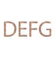 letters defg in bricks vector image