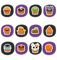 set of halloween cupcakes set of halloween vector image
