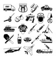 war monochrome icons set silhouette of military vector image