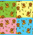 seamless pattern with funny lion play with vector image